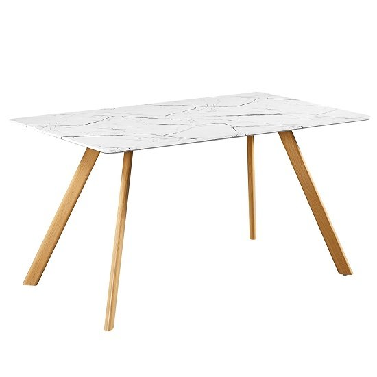 Swart Dining Table In White Marble Effect With Oak Legs