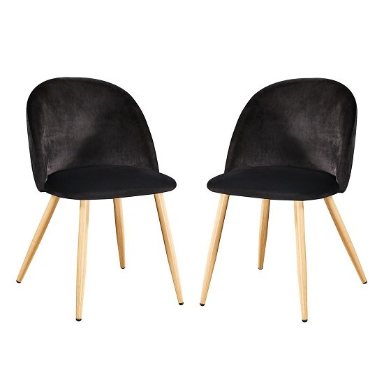 Swart Velvet Dining Chairs In Black With Oak Legs In A Pair