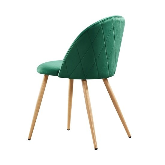 Swart Velvet Dining Chairs In Green With Oak Legs In A Pair_2