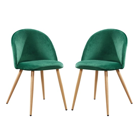 Swart Velvet Dining Chairs In Green With Oak Legs In A Pair