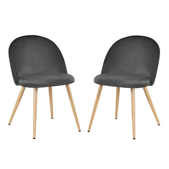 Swart Velvet Dining Chairs In Grey With Oak Legs In A Pair