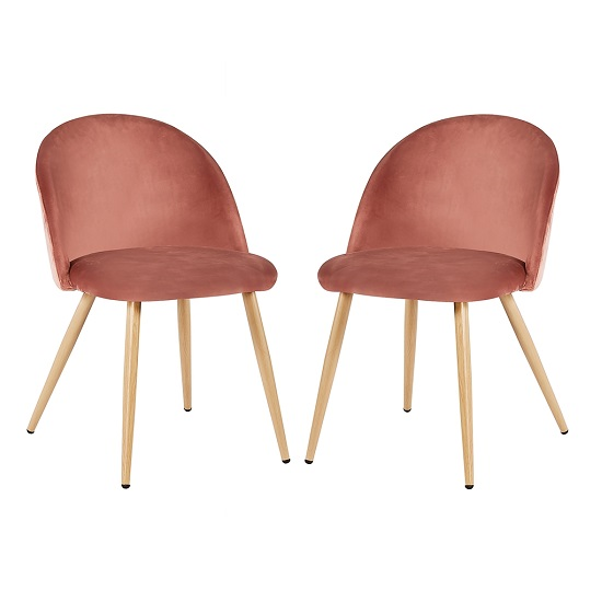 Swart Velvet Dining Chairs In Pink With Oak Legs In A Pair