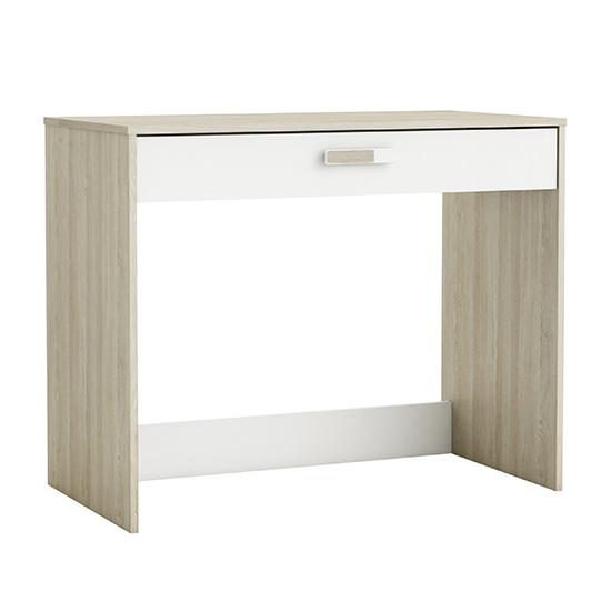 Swatch Wooden Computer Desk In Shannon Oak And Pearl White