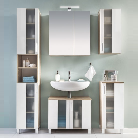 Swift Glass Bathroom Furniture Set In Oak And White With LED_2