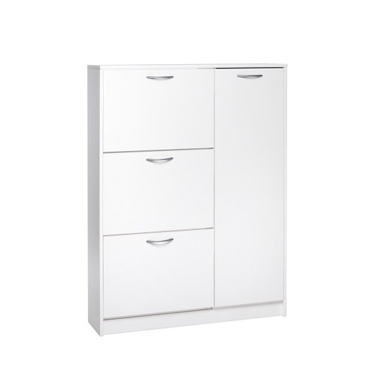 swift wooden shoe cabinet in white with 3 flaps and 1 door. Black Bedroom Furniture Sets. Home Design Ideas