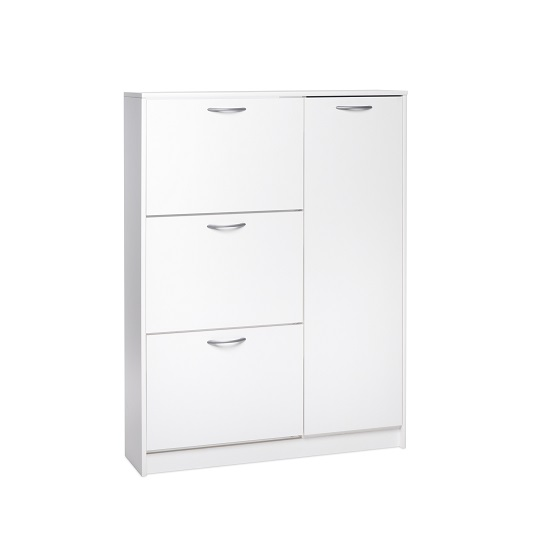 Swift Wooden Shoe Cabinet In White With 3 Flaps And 1 Door_1