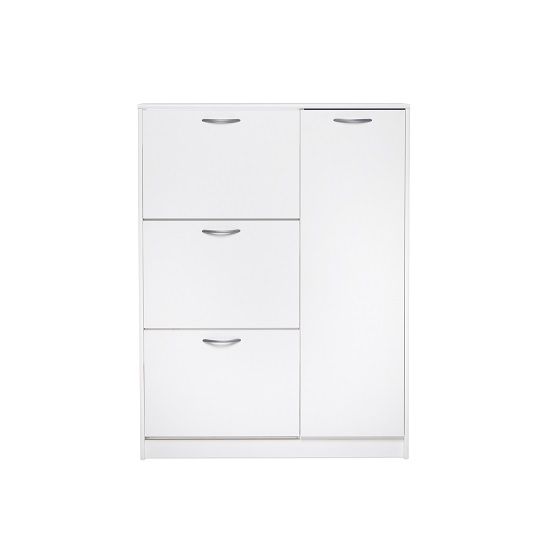 Swift Wooden Shoe Cabinet In White With 3 Flaps And 1 Door_2