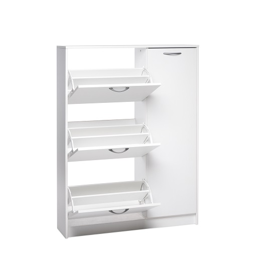 Swift Wooden Shoe Cabinet In White With 3 Flaps And 1 Door_3