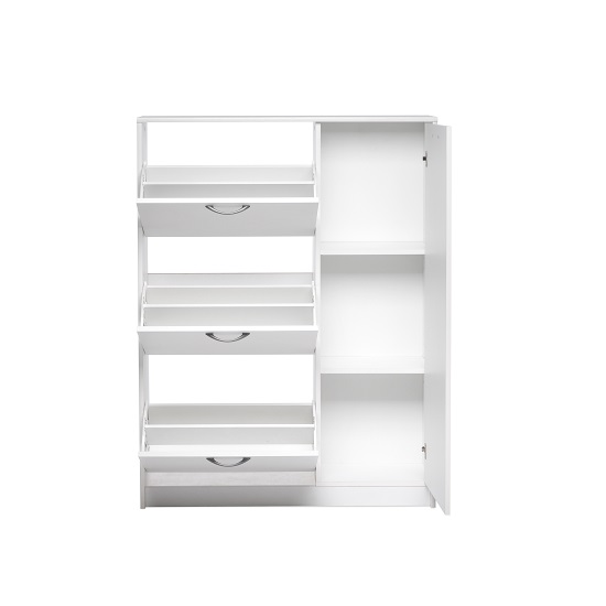 Swift Wooden Shoe Cabinet In White With 3 Flaps And 1 Door_4