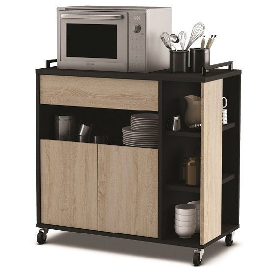 Swift Microwave Storage Cabinet In Gross Oak And Black