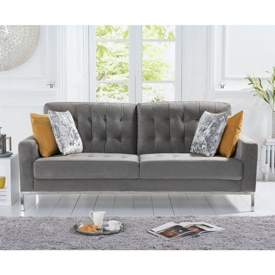 Swiger Velvet Three Seater Sofa In Grey With Metal Legs