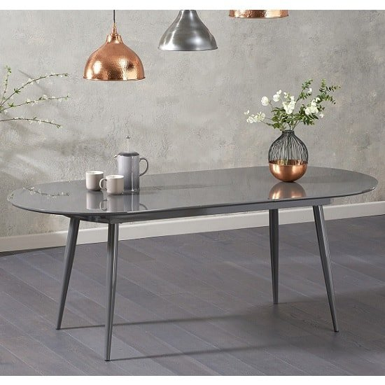Swing Modern Extendable Dining Table In Grey High Gloss_1