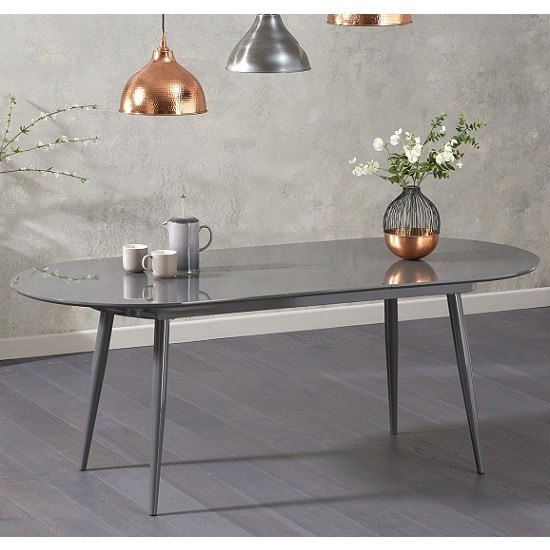 Swing Modern Extendable Dining Table In Grey High Gloss