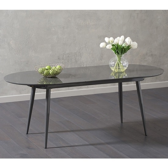Swing Modern Extendable Dining Table In Grey High Gloss_3