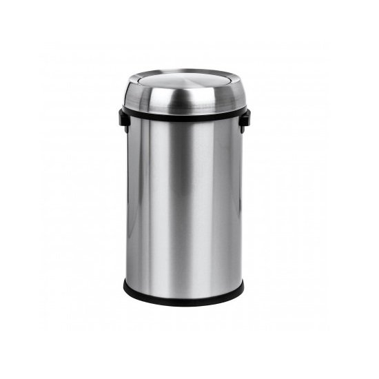 Swing Lid Stainless Steel Bin In Silver Finish