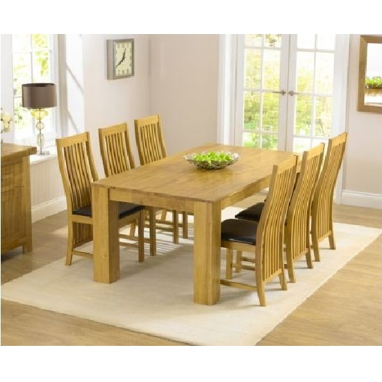 Swing Wooden Rectangular Dining Table With 6 Dining Chairs