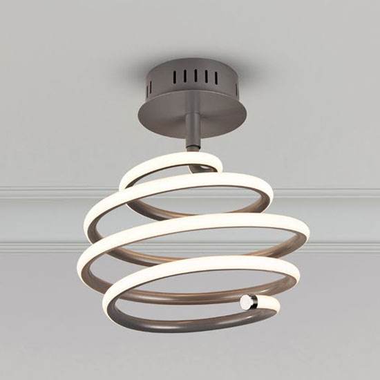 Swirl LED Metal Wall Hung Ceiling Light In Grey And White