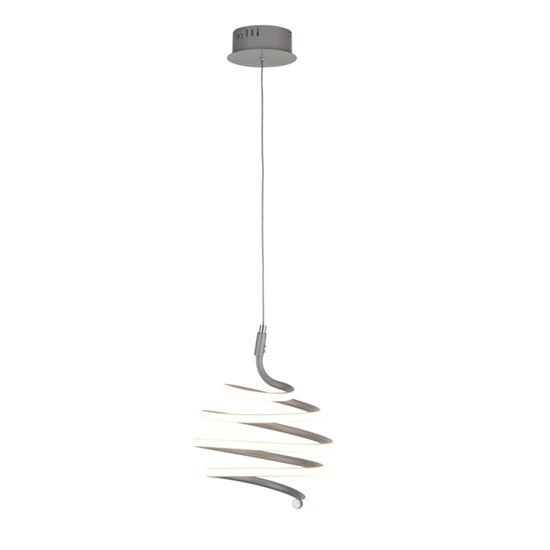 Swirl LED Metal Wall Hung Pendant Light In Grey And White