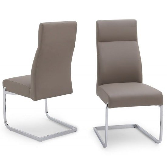 Swiss Cantilever Dining Chair In Taupe Faux Leather In A Pair