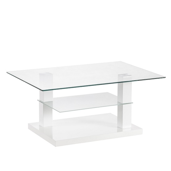 High Gloss White Coffee Table Round Angle Black Glass Top: Alessia Glass Coffee Table In Gloss White With Undershelf 18