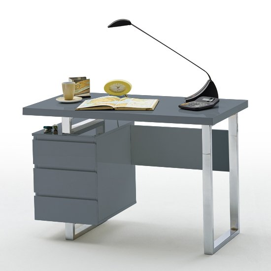 View Sydney computer desk in grey high gloss with 3 drawers