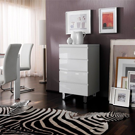 Sydney Chest Of Drawers in High Gloss White With 4 Drawers