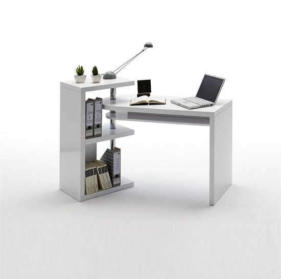 Sydney Rotating Office Desk in High Gloss White_2