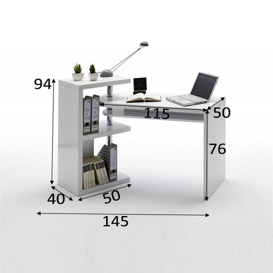 Sydney Rotating Office Desk in High Gloss White_3