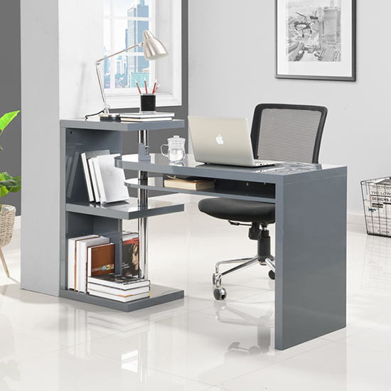 Sydney Rotating Office Desk in High Gloss Grey_2