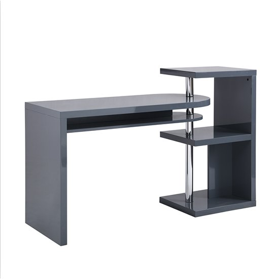 Sydney Rotating Office Desk in High Gloss Grey_4