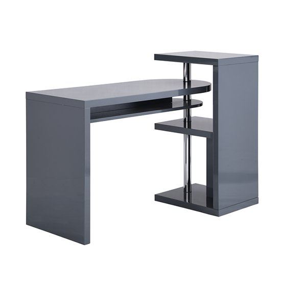 Sydney Rotating Office Desk in High Gloss Grey_5