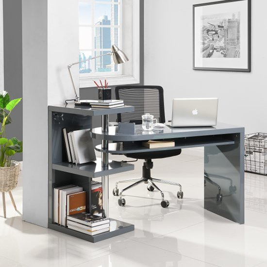 Sydney Rotating Office Desk in High Gloss Grey_1
