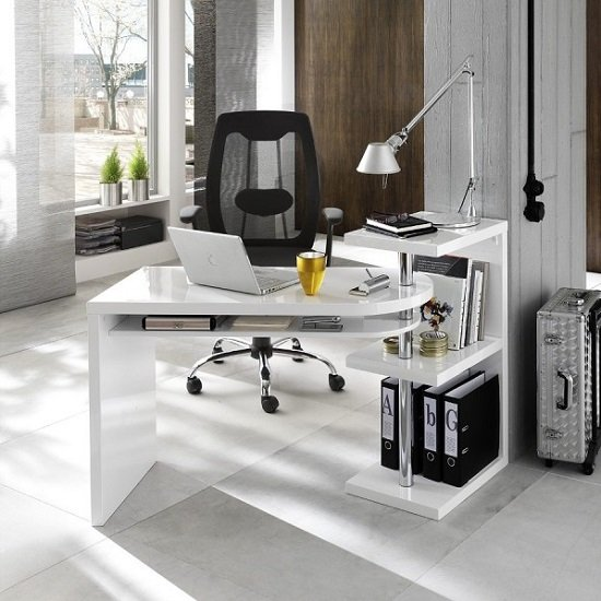Sydney Rotating Office Desk in High Gloss White_1