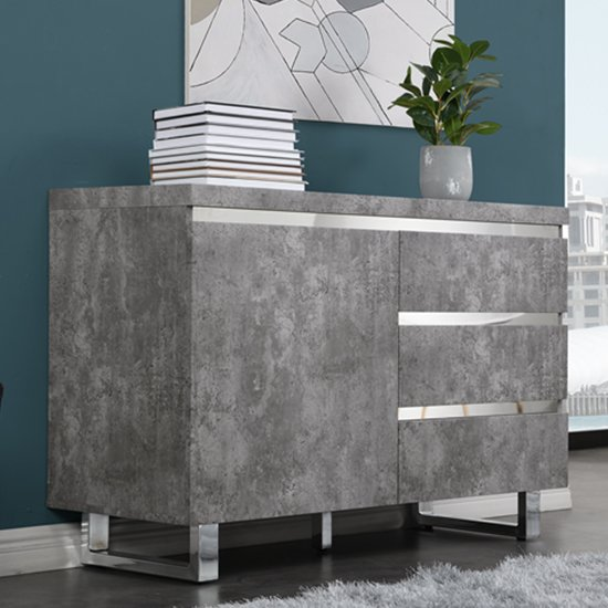 Sydney Small Sideboard In Concrete Effect With 1 Door And 3 Drawers