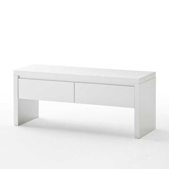 Sydney Bench In High Gloss White With 2 Drawers