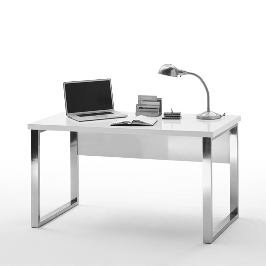 Sydney Office Desk In High Gloss White And Chrome Frame 1