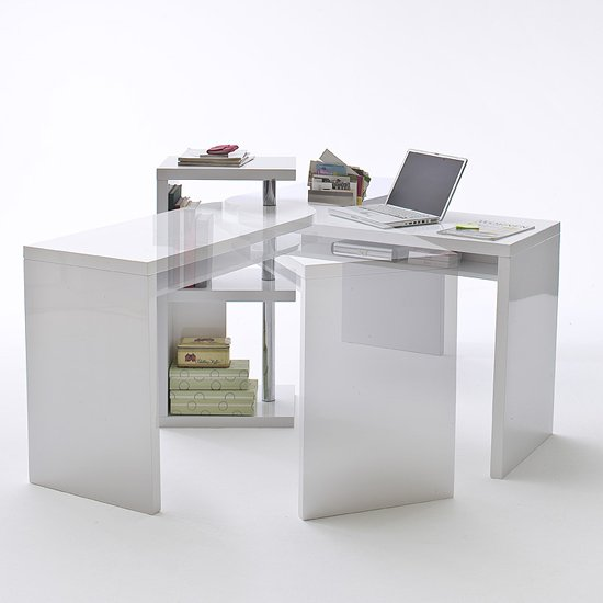 Sydney Rotating Office Desk In High Gloss White 19699