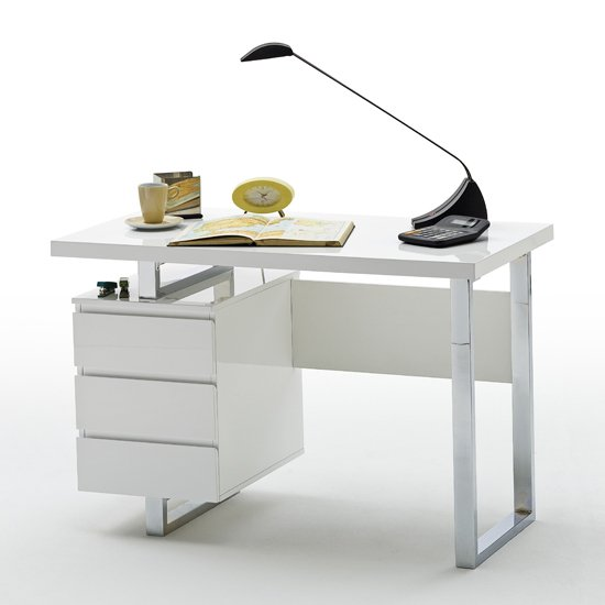 Read more about Sydney computer desk in high gloss with 3 drawers