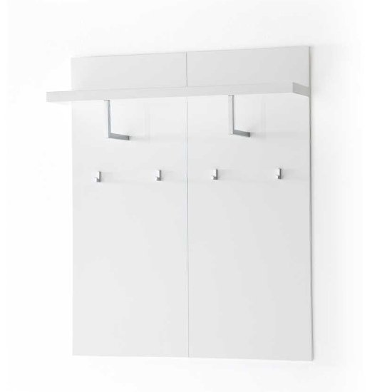 Read more about Sydney wide wall mounted hallway storage in high gloss white