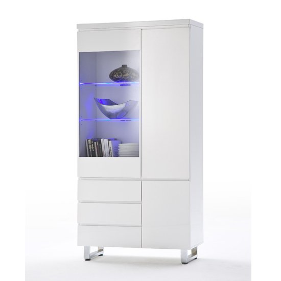 sydney display cabinet in high gloss white with led lights 48916w