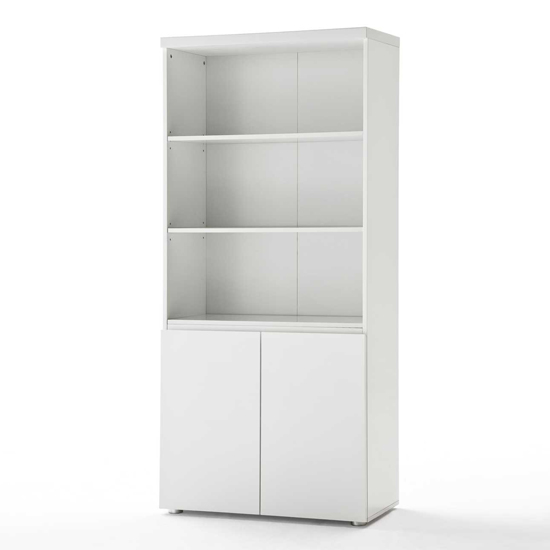 sydney shelving unit with cupboard in high gloss white