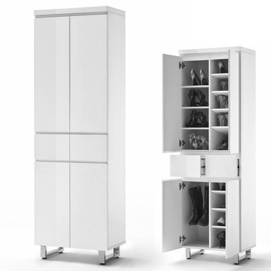 Sydney Shoe Cupboard In High Gloss White With 4 Doors