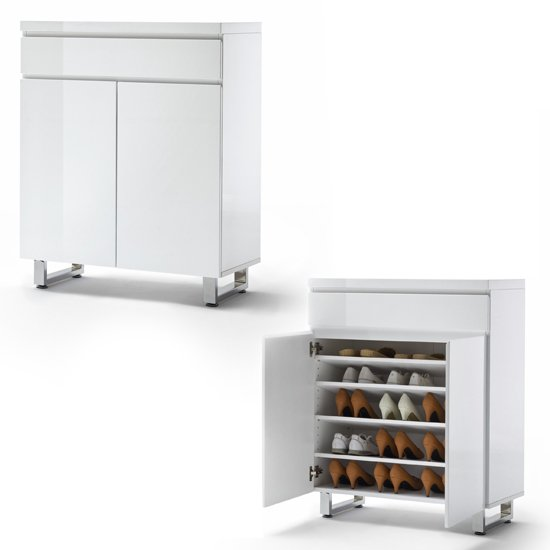 Sydney Shoe Cabinet In High Gloss White With 2 Door And Drawer_3