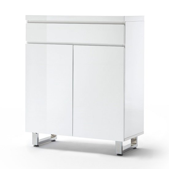 Sydney Shoe Cabinet In High Gloss White With 2 Door And Drawer