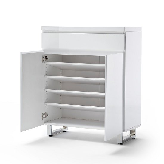 Sydney Shoe Cabinet In High Gloss White With 2 Door And Drawer_2