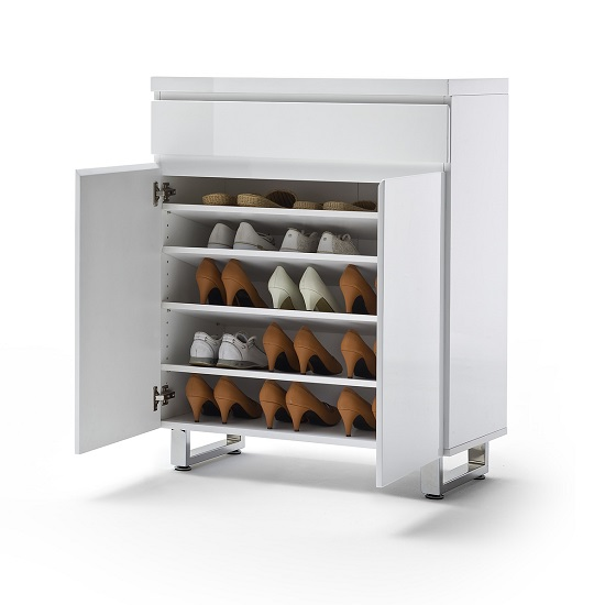 Sydney Shoe Cabinet In High Gloss White With 2 Door And Drawer_4