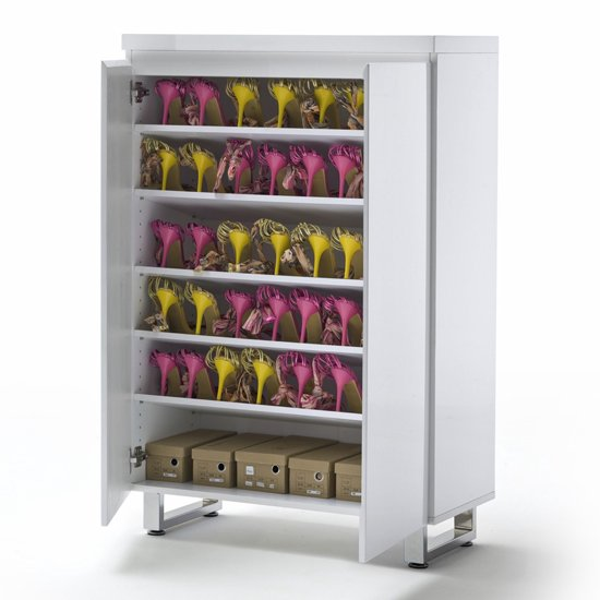Sydney Shoe Storage Cabinet in High Gloss White With 2 Door