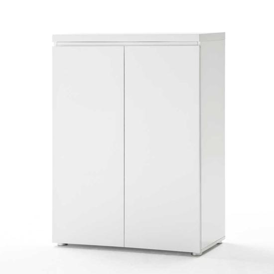 sydney 2 door storage cabinet in high gloss white 19687. Black Bedroom Furniture Sets. Home Design Ideas