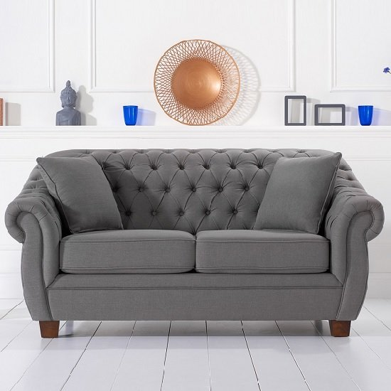 Image of Sylvan Chesterfield Style Fabric 2 Seater Sofa In Grey Linen