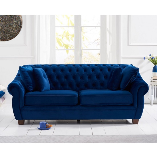 Sylvan Chesterfield Fabric 3 Seater Sofa In Blue Plush